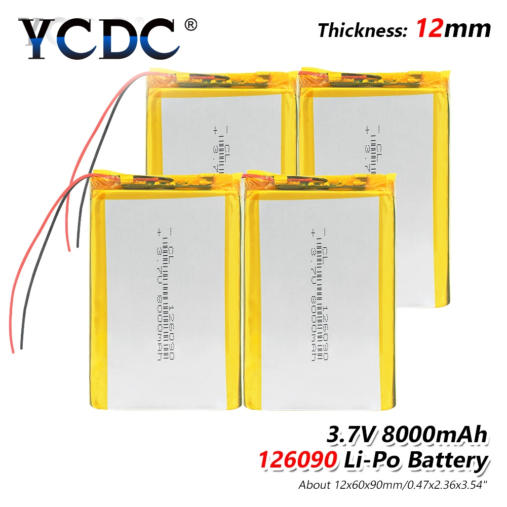 1 2 4Pcs 3 7V 8000mAh Lipo Battery 7566121 PCB For Tablet PC DVD GPS MID