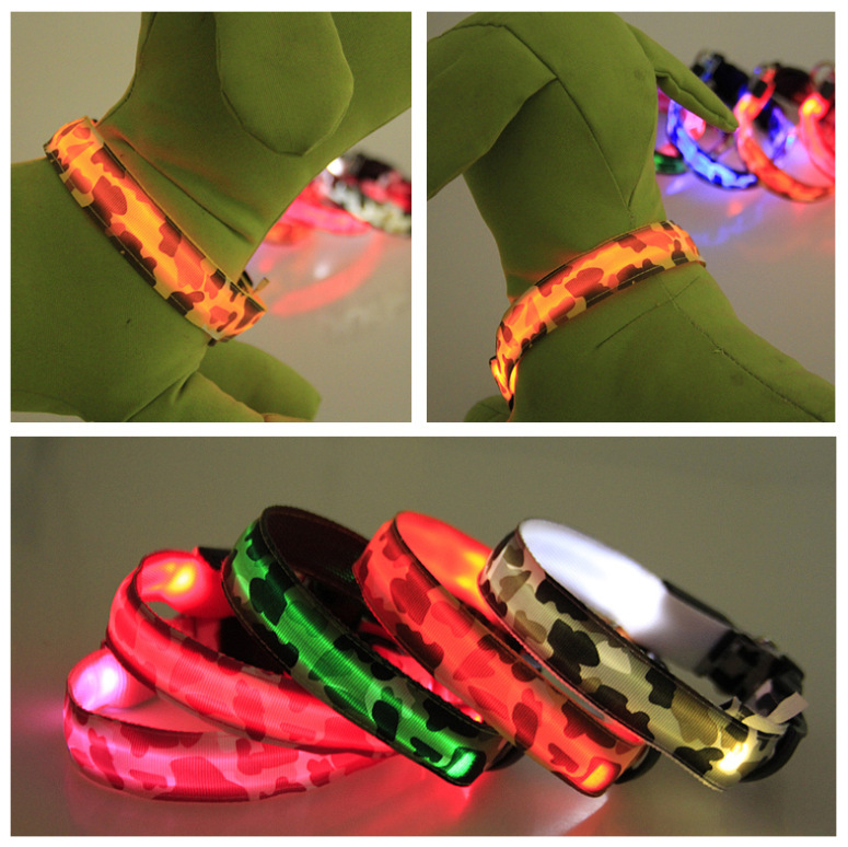 LED Pet Dog Cat Collar,Night Safety Flashing Glow In The Dark Dog Leash,Dogs Camouflage Luminous Fluorescent Adjustable Collar