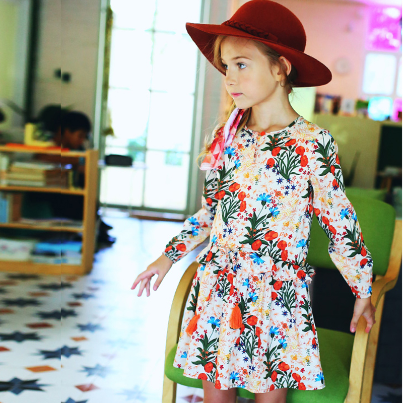Girls Autumn Dress Children 2017 Brand Princess Dress Christmas Floral Long Sleeve Kids Dresses for Girls Clothes 10 12 years 2017 autumn new style 3 10 years girls dresses children bud silk princess dress long sleeved red christmas party dress