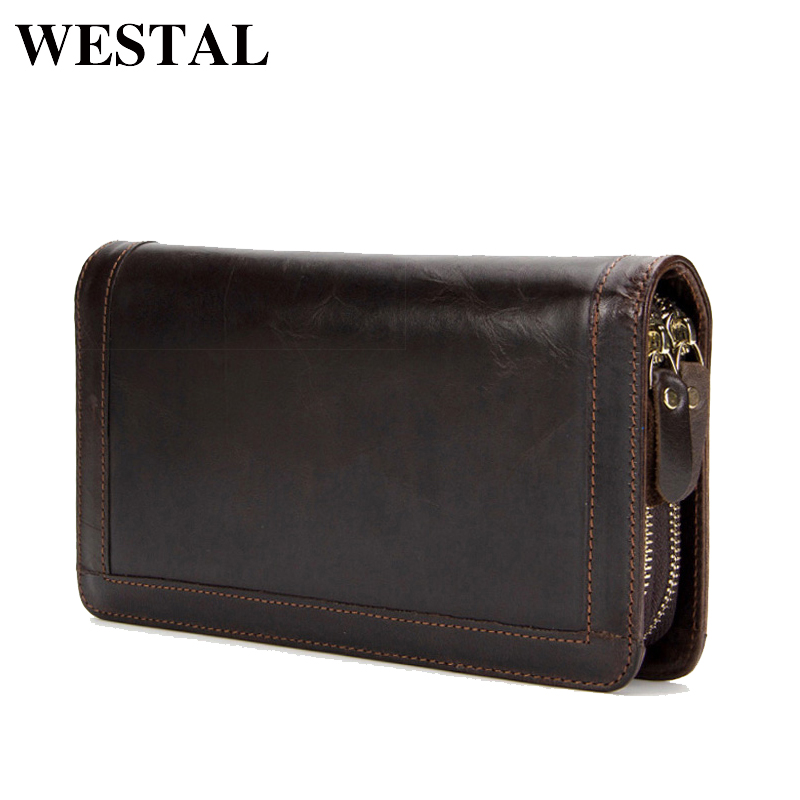 WESTAL Genuine Leather Men Wallets Double Zipper Male Wallet Men Purse Fashion Male Long Phone Wallet