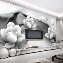 Купить с кэшбэком Beibehang Custom Wallpaper Home Furnishings Mural B & W White Butterfly Butterfly Simple 3d TV Backdrop Wall mural 3d wallpaper