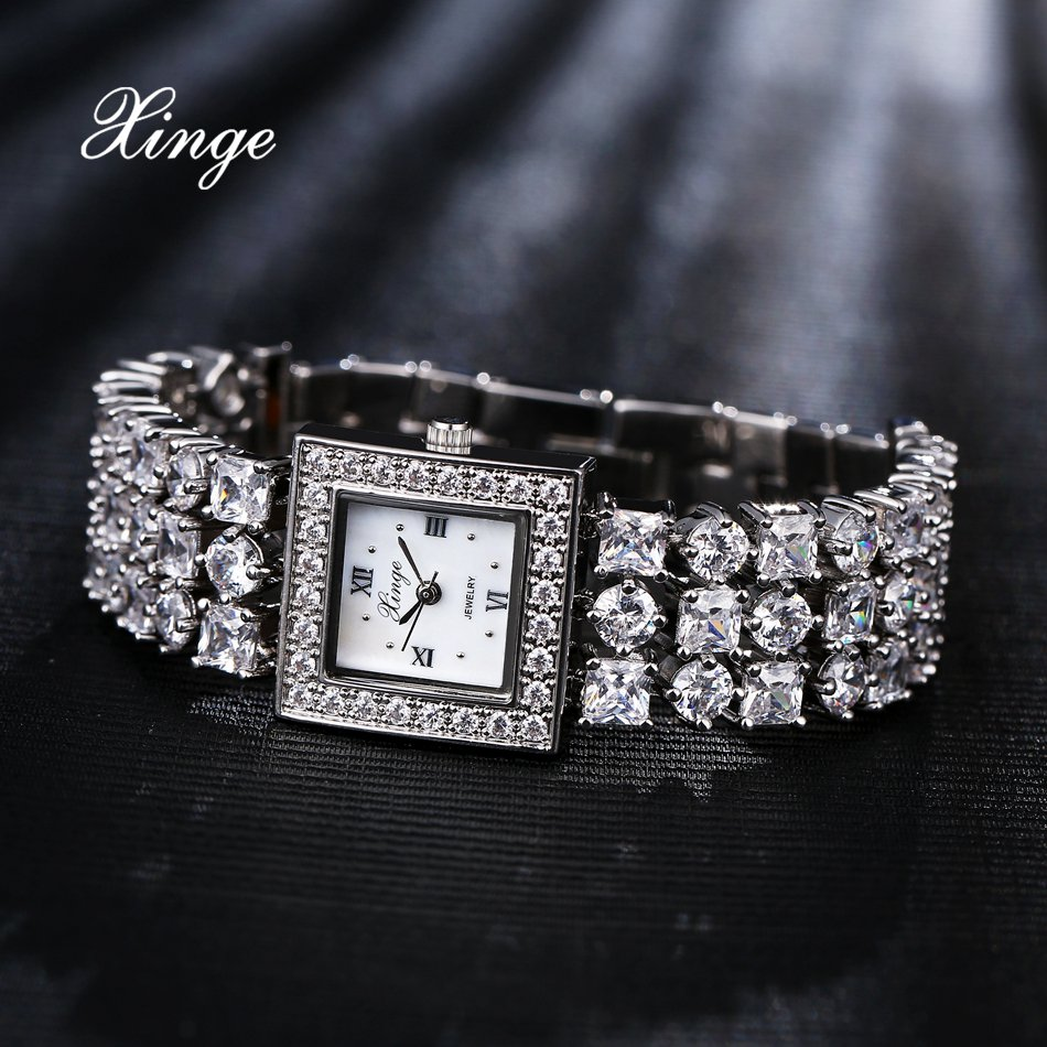 Xinge Brand Luxury Watches For Women Crystal Quartz Watch Ladies Zircon Dress Bracelet Watch Business Clock Relogio Feminino xinge top brand luxury women watches silver stainless steel dress quartz clock simple bracelet watch relogio feminino
