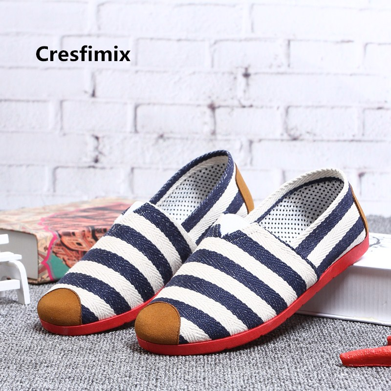 Women Fashion Light Weight Comfortable Slip On Canvas Shoes Lady Cute Sweet Blue Stripe Dance Shoes Zapatos Planos De Mujer E440