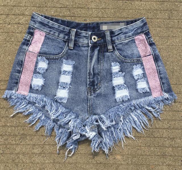 Denim Shorts For Women Fashionable Elegant Brand Vintage Tassel Ripped High Waisted Sexy