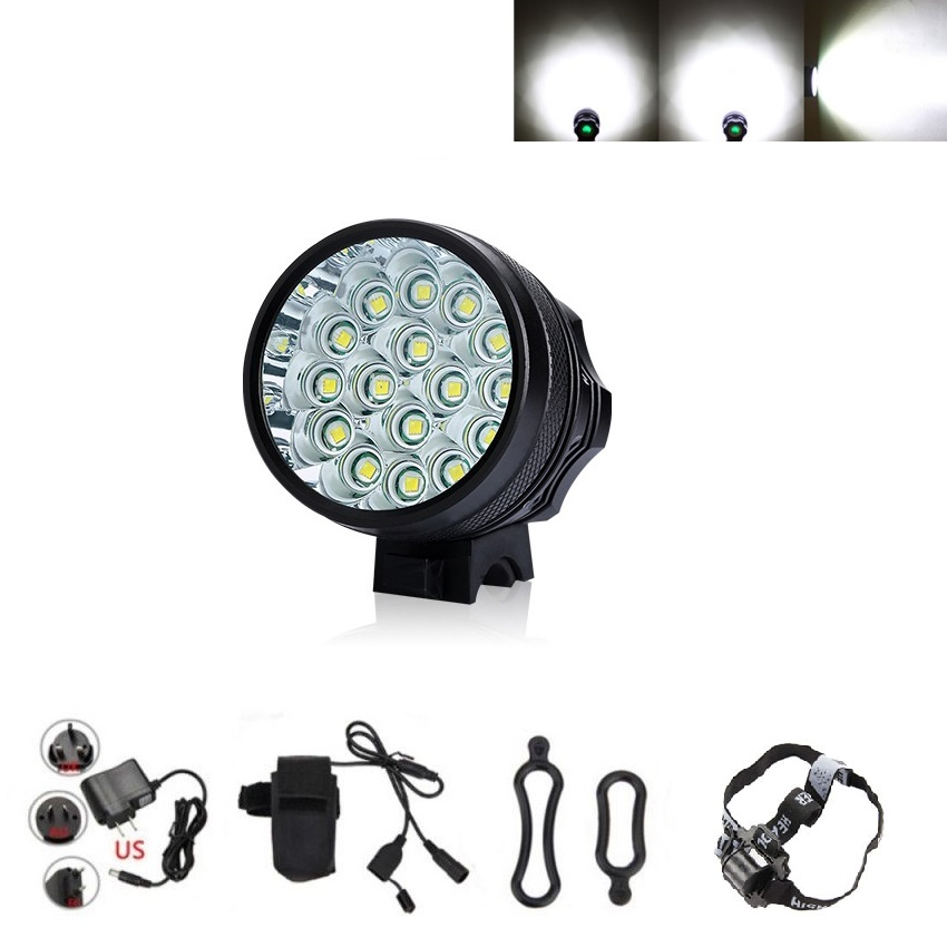 Super Power 20000Lumens 16x XM-L T6 LED Bicycle Headlight Bike Light Lamp Riding Cycling Headlamp+Battery Pack+Charger