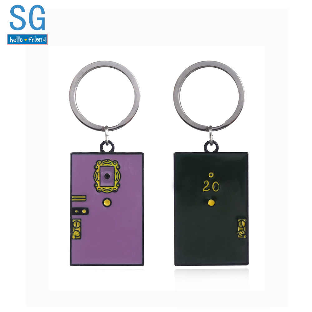 SG TV Friends Monica's Double Side Door Keychains Pendants Central Perk Coffee Time Keyring Choker Men Souvenir Gift Jewelry