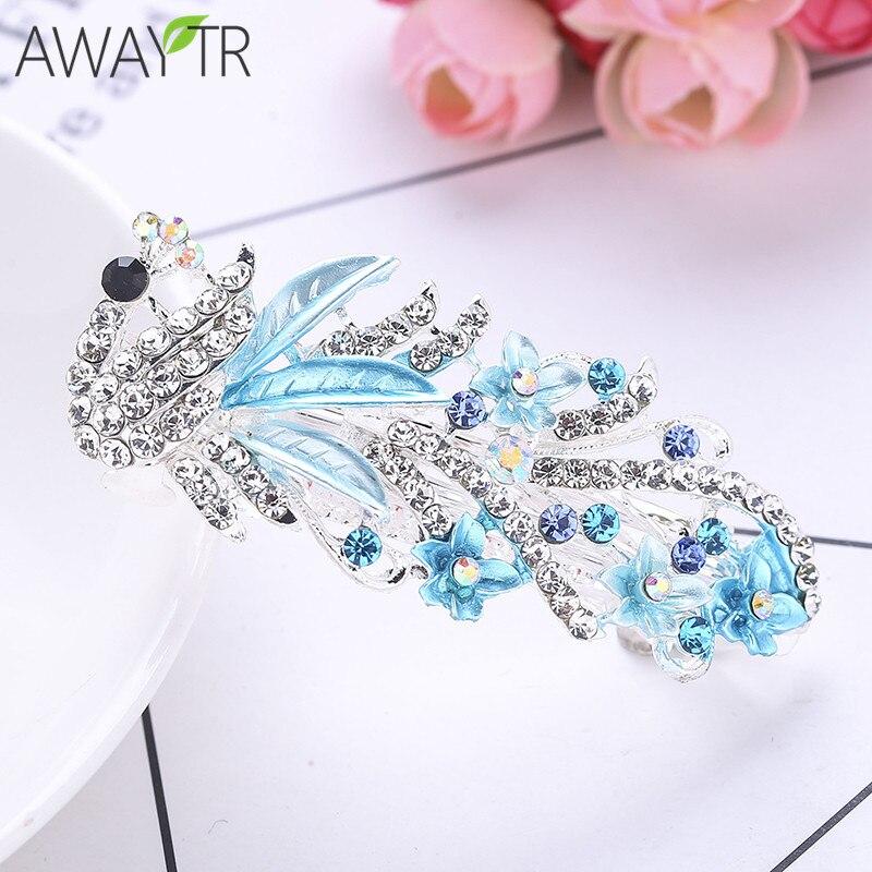 Peacock Hair Clips for Women Hot Sale Barrettes Wedding Bridal Hair Ornaments Flower Crystal Hair Accessories New Fashion