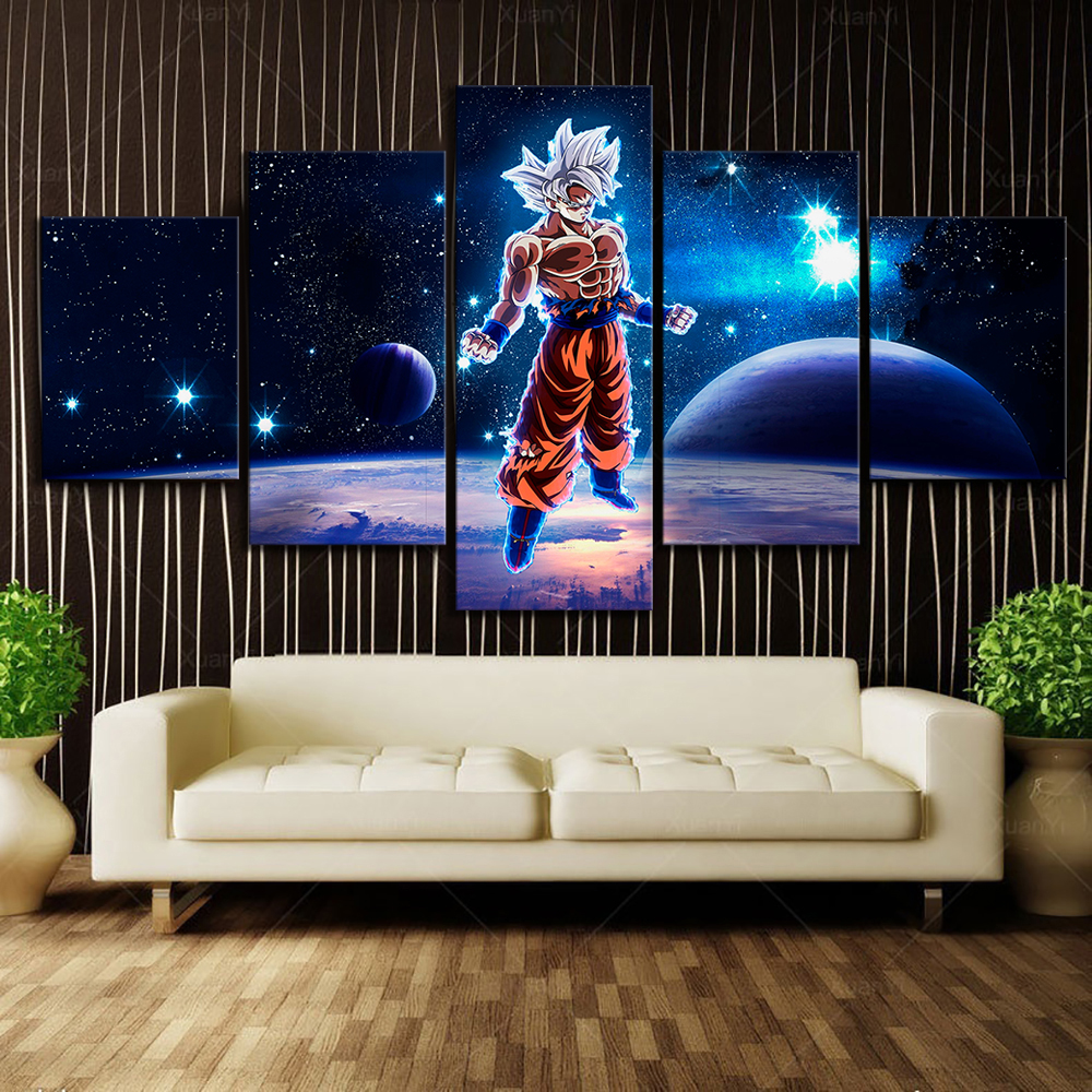 5 Piece Animation Art Dragon Ball Super Cartoon Pictures Wall Painting for Living Room Wall Decor 2