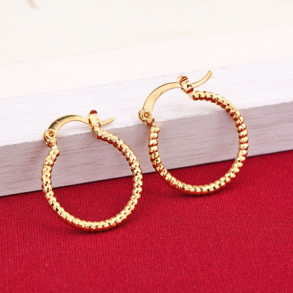 Round Earrings Basketball Trendy Gold Color Fashion Jewelry Wholesale Middle Size Hoop Earrings Women