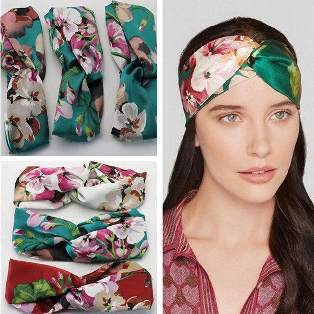 9a5c65a5e58 1 Pc Women Girl Lady Flower Floral Print Headbands Turban Cross Twist Knot  Elastic Wrap Headwear Hair Accessories