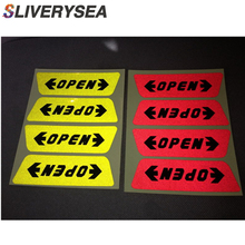 SLIVERYSEA 4pcs/set Reflective Open Sticker Door Open Warning Safety Car Styling Car Sticker Auto Decor #B1063