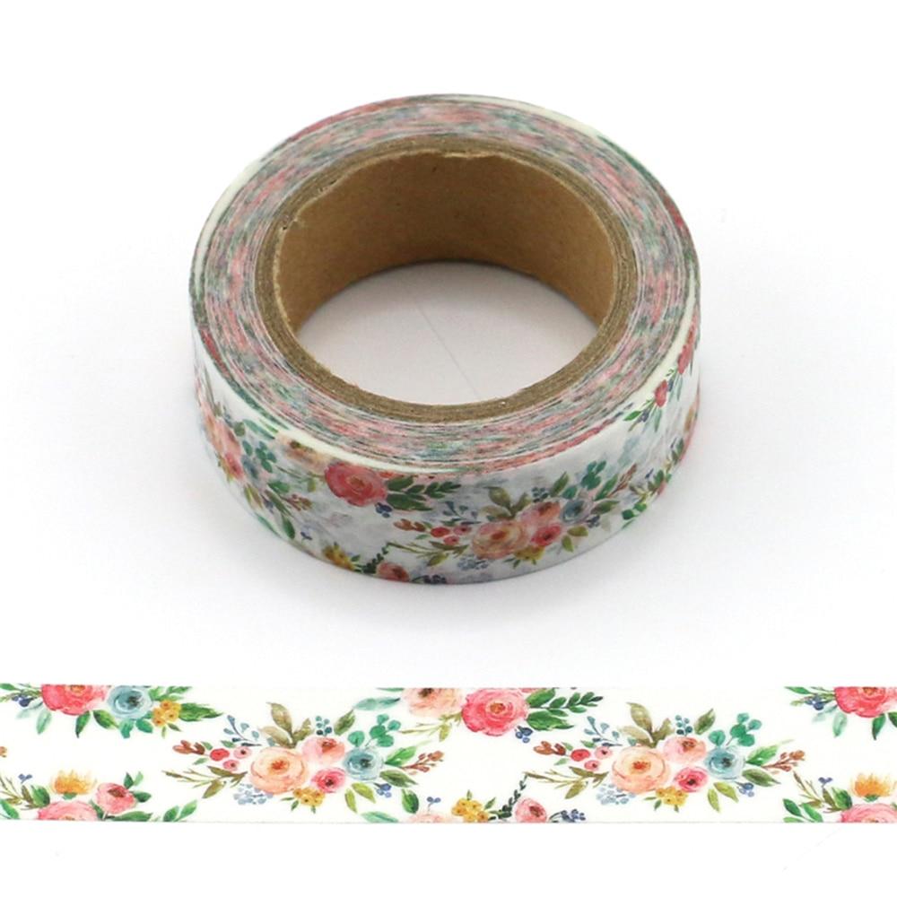15mm*10m Fresh Floral Washi Tape  Decorative Scrapbooking Masking Tape Adhesive Label Sticker Tape Stationery