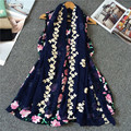 Vintage Ethnic Style Flower Embroidered Womens Scarfs Oversized Soft Long Cotton Blend Scarves Ladies Casual Retro Shawl Foulard