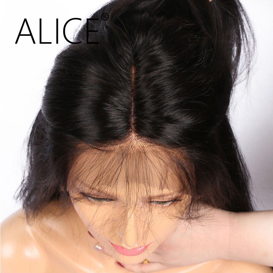ALICE Bleached Knots Full Lace Wig Silky Straight Indian Remy Hair Pre Plucked Lace Wig With Baby Hair No Tangle No Shedding
