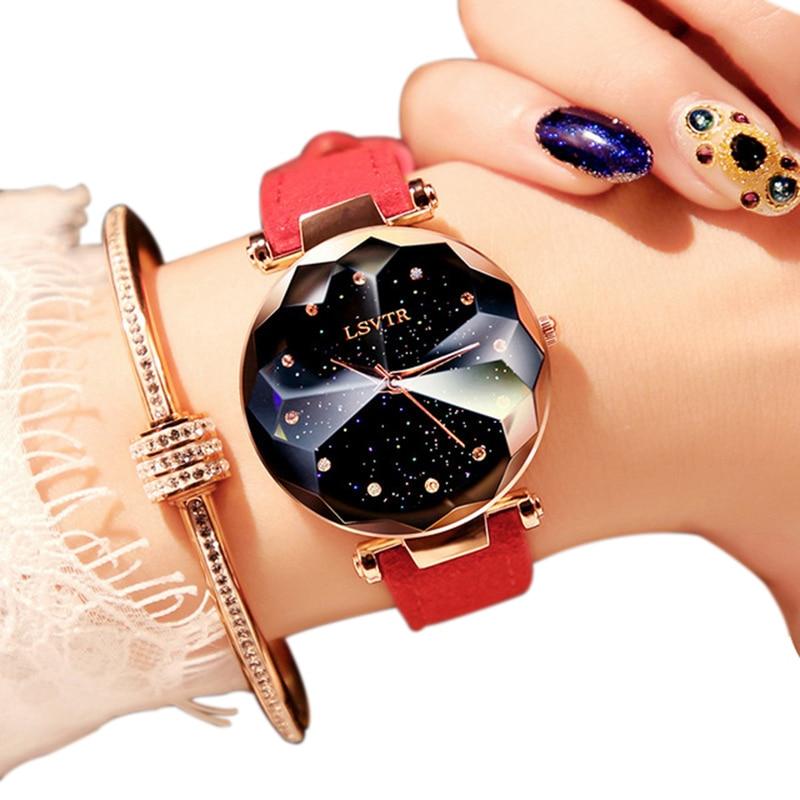 Lsvtr Luxury Diamond Rose Gold Women Watches Starry Sky Leather Ladies Quartz Wrist Watch For relogio feminino montre femme 2018