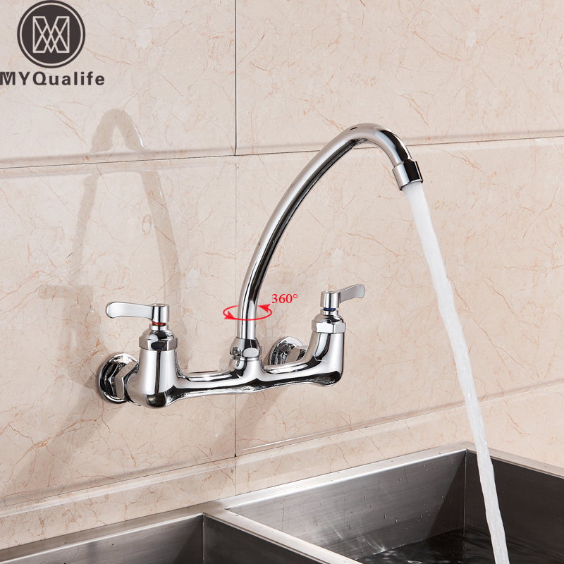US $57.6 40% OFF|Chrome Wall Mounted Kitchen Faucet Dual Handle Swive Spout  Hot Cold Mixer Tap 360 degree Goose Neck Mixer Tap for Kitchen-in Kitchen  ...