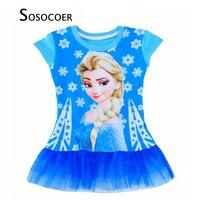 SOSOCOER Girl Princess Dresses Cartoon Elsa Kids Dress Girls Baby Clothes Summer Style Snowflake Printed Lace