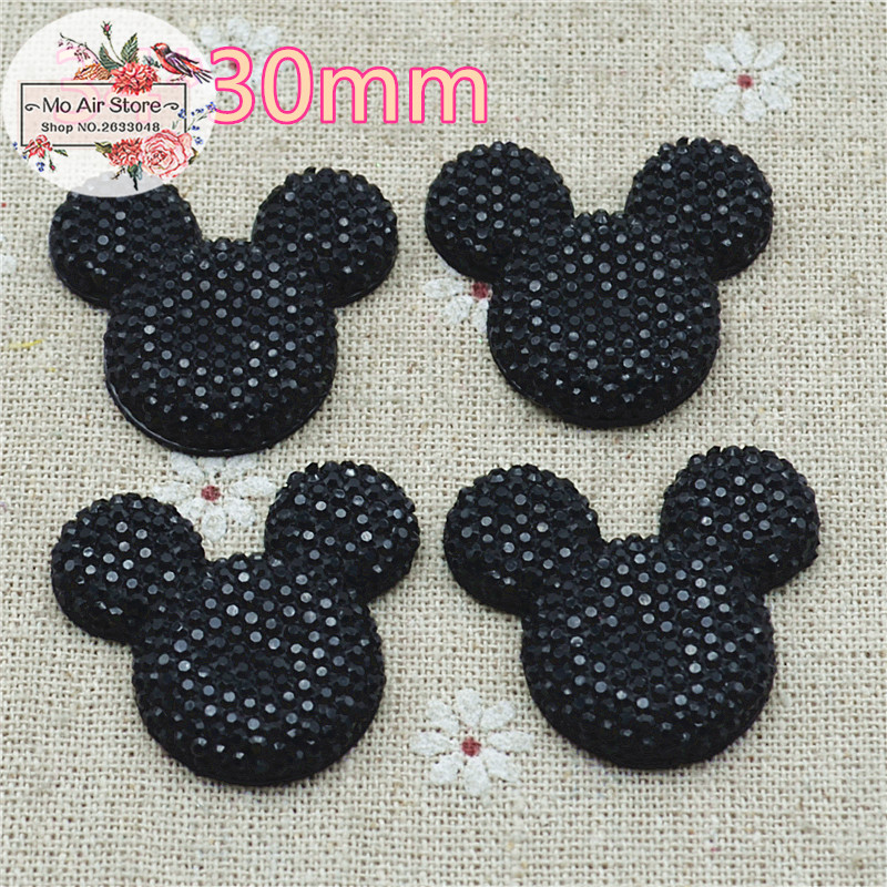 Black Mickey Mouse With Bow Cabochon Resin Flatbacks Scrapbooking For DIY Craft 34x30mm 10PC