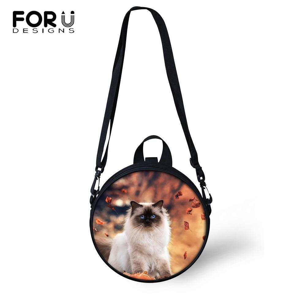 FORUDESIGNS Leaves Cats Print Kindergarden Baby Shoulder Bags Women Round Shape Messenger Kawaii Animal Girls Circular