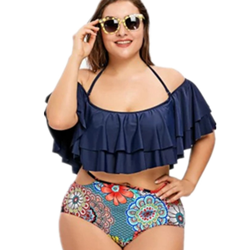 High Waist Plus Size Tankini Halter Ruffle Swimsuit Two Pieces Bathing Suits Big Women Off shoulder Beach Wear Push Up Swimsuit
