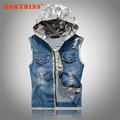 New Men's Hooded Camouflage Denim Vest Men Camo Jean Brand Clothing Male Jeans Waistcoat Man Sleeveless Jackets M-2XL G269