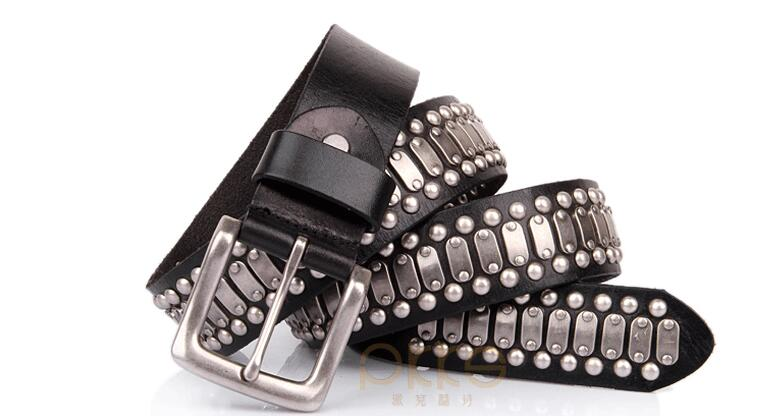 Free Shipping new 100 Real cow leather buckle belt brand genuine leather fashion rivet belts cowboy