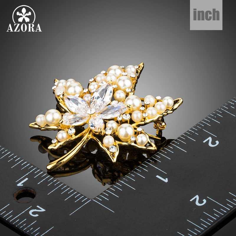 Azora Jelas Kubik Zirconia Batu Maple Daun Bentuk Bros Rhinestone Disimulasikan Mutiara Pin Pakaian Wanita Aksesoris TP0076