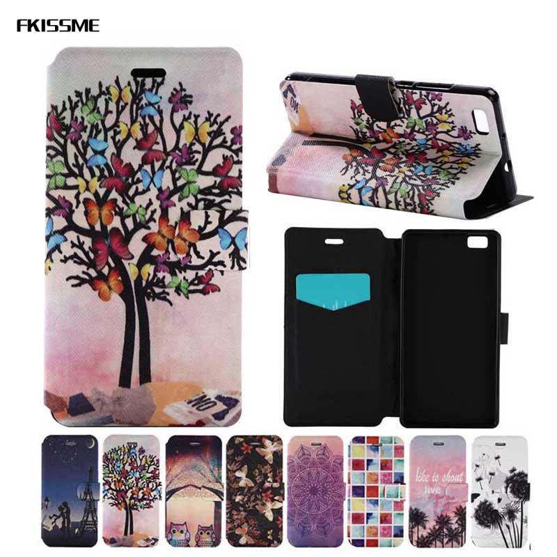 Consumer Electronics Fkissme Luxury Pu Leather Case For Huawei P9 Lite Tower Flower Butterfly Owl Flip Wallet Case For Huawei Ascend P9 Lite Cover