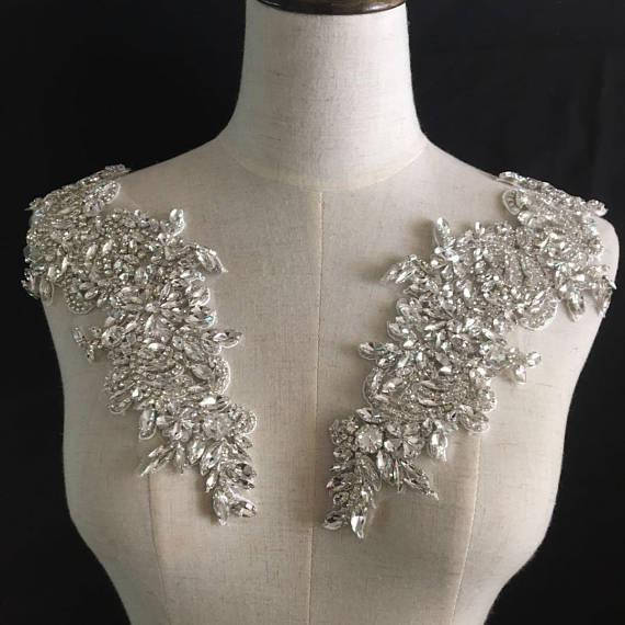 1 Pair/lot Rhinestone Crystal Beaded Iron On Bridal Applique Pair For Wedding Sash Belt , Gown Straps 11 X 31 Cm