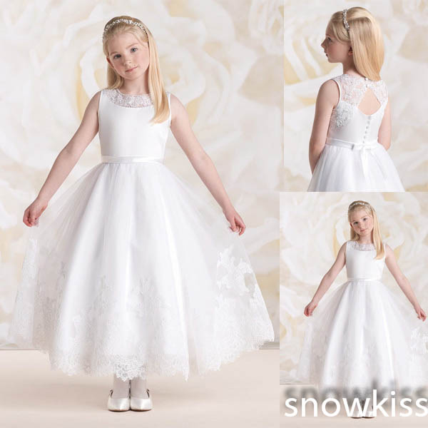 New arrival white/ivory ankle-length sheer lace crew neck A-line flower girl dresses beautiful appliques wedding party gowns