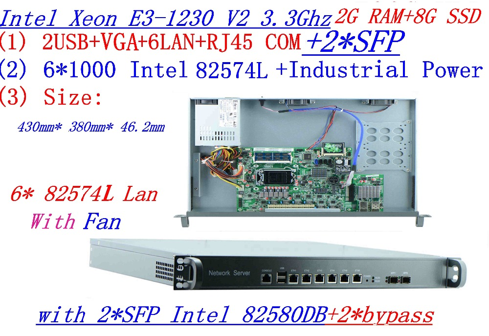 Factory Direct Sale 1U Firewall Quad Core Xeon E3-1230 V2 3.3G With 8 Ports 6*1000M 82574L Gigabit Nic 2*  SFP 2G RAM 8G SSD