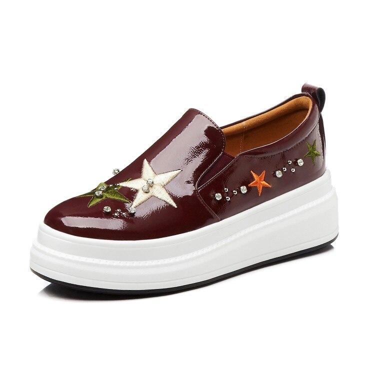 a682671676c41 Gruesa Antideslizante La En Planos Mujer Parte Las Cuero vino Genuino  Casuales De Mujeres Tinto Zapatos ...
