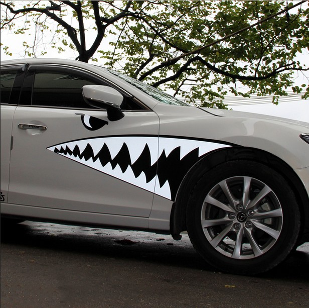 Free shipping custom made car full body styling sticker adhesive vinyl film advertising decal cool shark