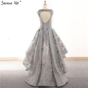 Image 3 - Vestidos de Noche asimétricos de tul, ropa de noche gris, Sexy, bordada con perlas, sin mangas, Formal, de noche, Hill HM66595 Serene, 2020