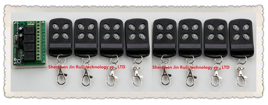DC12V 4CH 10A wireless remote control switch system teleswitch 8pcsTransmitter + 1X Receiver relay smart house z-wave dc12v 4ch relay 10a rf wireless remote control switch system 1 receiver