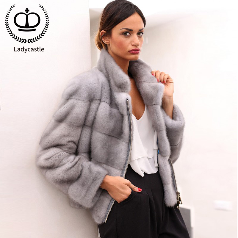 2019 Luxurious Imported Sapphire Mink Fur Coats & Jackets Fashion Real Fur Zipper Suit Lapel Slim Outer Garments Collar MKW-237