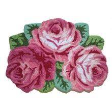 Розовый/синий 3 ковер с розами пасторальный цветочный домашний Декор Ковер и ковры в форме роз ручной работы коврик с вышивкой напольный коврик 80x60