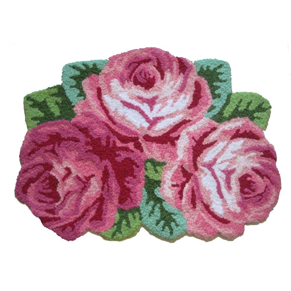 Rose/bleu 3 Roses tapis pastorale Floral décor à la maison tapis et tapis Roses forme fait main broderie tapis tapis de sol paillasson 80x60