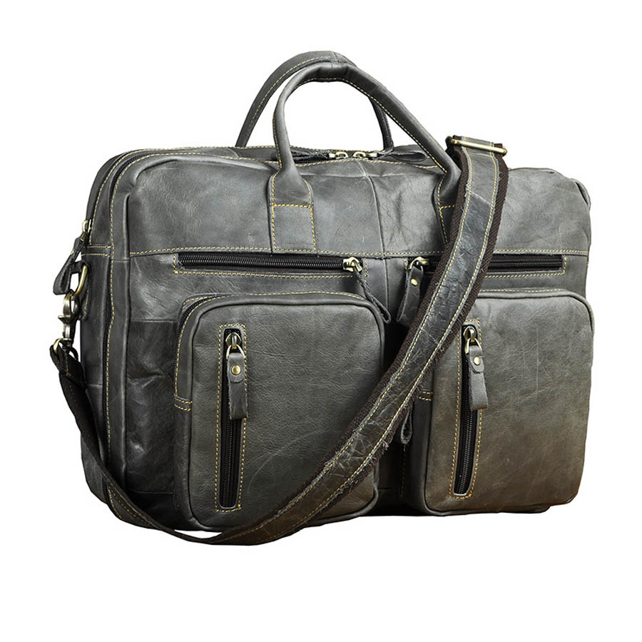 16' Genuine Leather Briefcase Portfolio Men's Handbag Men Cross Body Shoulder Bag Male Cowhide Messenger Bag high capacity men handbag cowhide genuine leather bags messenger shoulder bag cross body male business briefcase laptop pack