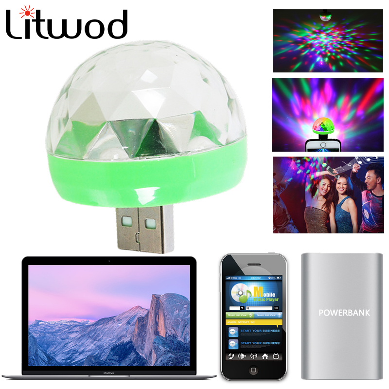 Z90Litwod  Mobile USB Stage Lights Mini Led Crystal Magic Ball Small Magic Ball Lights Colorful Turn Ball Dj Light Sound Control