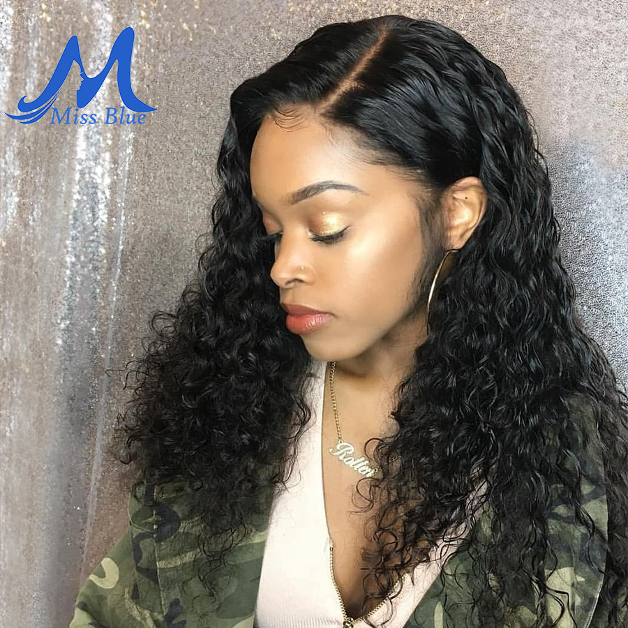 Missblue Curly Lace Front Human Hair Wigs With Baby Hair Brazilian Remy Lace Frontal Wigs For