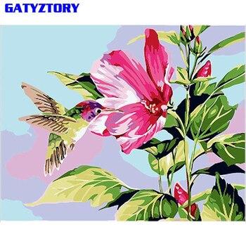 GATYZTORY Vogels En Bloemen DIY Schilderen Door Getallen Kits Acryl Verf Op Canvas Handgeschilderd Olieverfschilderij Voor Bruiloft Decoratie