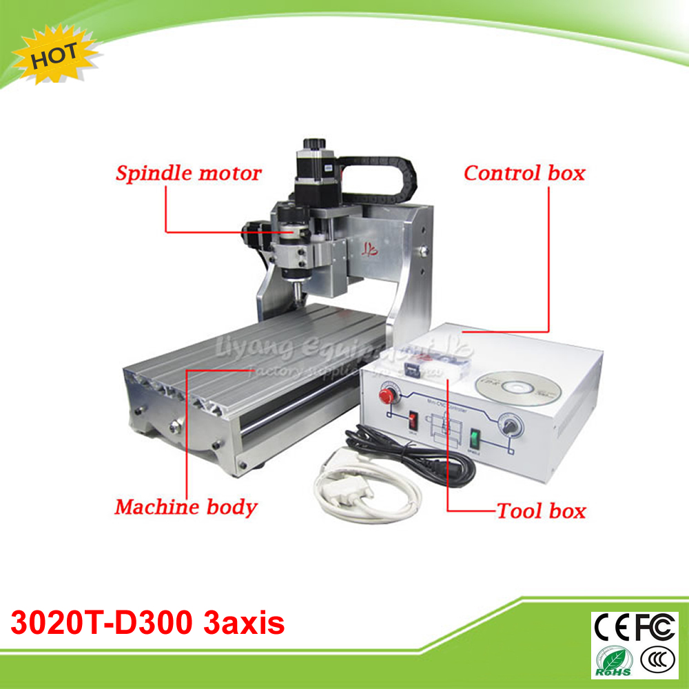 3020T-D300 3 axis mini CNC router lathe with 300W DC power spindle motor free tax to RU 6040z d300 3axis mini cnc milling machine lathe ball screw 300w spindle free tax to ru