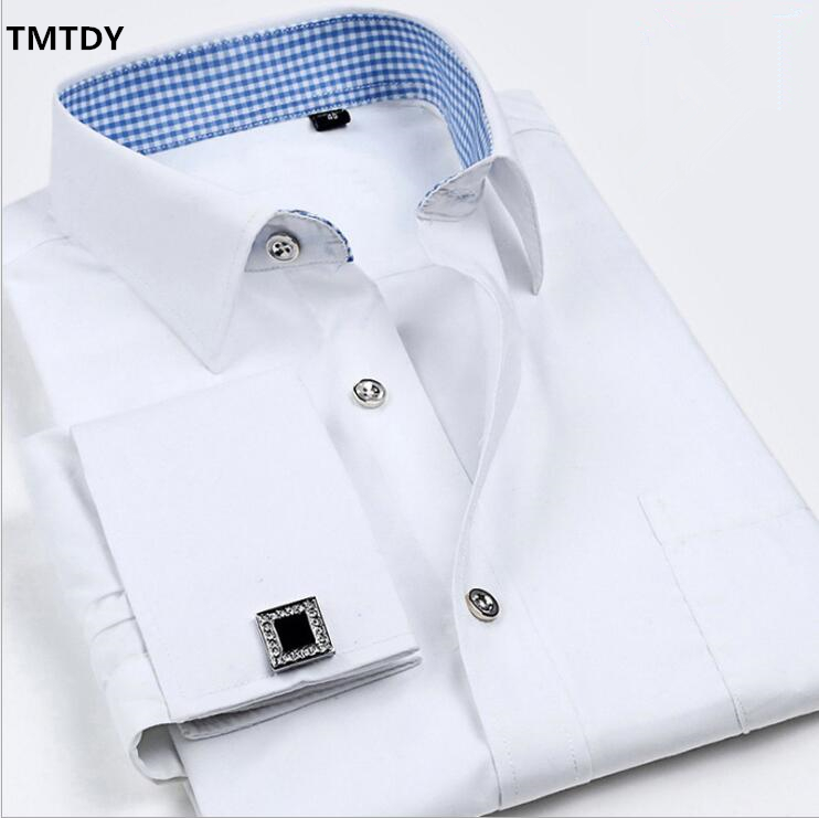 TMTDY 2017 Fashion Brand Men Dress Shirts Long Sleeve Cotton Slim Fit French Cufflinks Plus Size Casual Male Social Dress Shirt