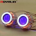 2.5 polegada Duplo COB LEVOU Anjo Anéis Olhos de Halo HID Bi H1 xenon Mini Lente Do Projetor Do Farol + Olhos Do Diabo para H4 H7 Carro Retrofit