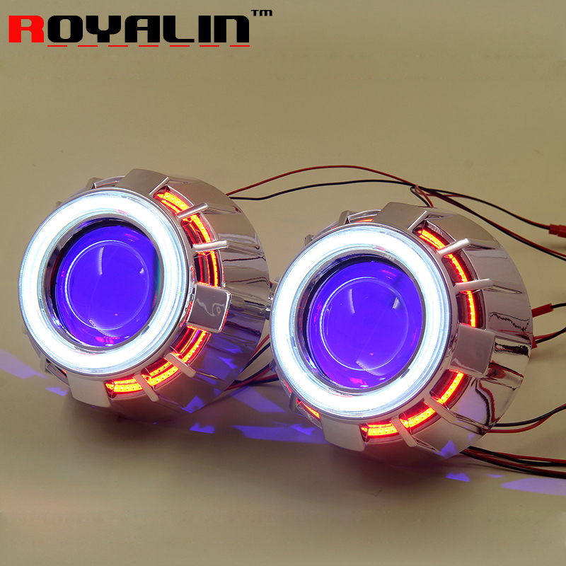 ROYALIN Car Double LED COB Angel Eyes Headlight Lens H1 Bi Xenon Mini Projector Demon Eyes DRL H4 H7 Motorcycle Lamp Retrofit 2 5inch bixenon projector lens with drl day running angel eyes angel eyes hid xenon kit h1 h4 h7 hid projector lens headlight