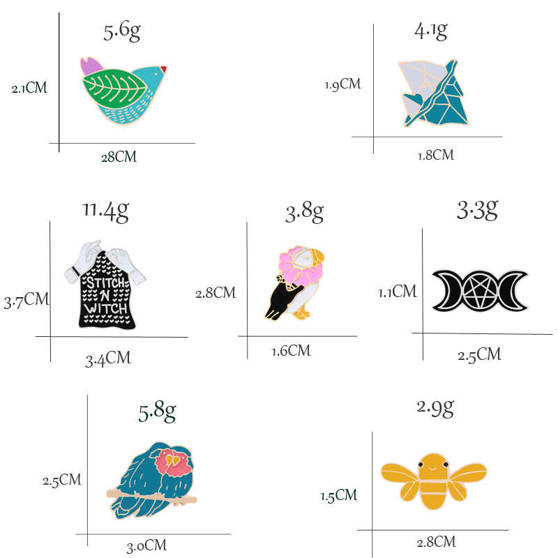 Kreatif Kartun Enamel Stitch Penyihir Burung Elang Gunung Es Bros Bee Denim Topi Lencana Bros untuk Wanita Kerah Perhiasan Hadiah