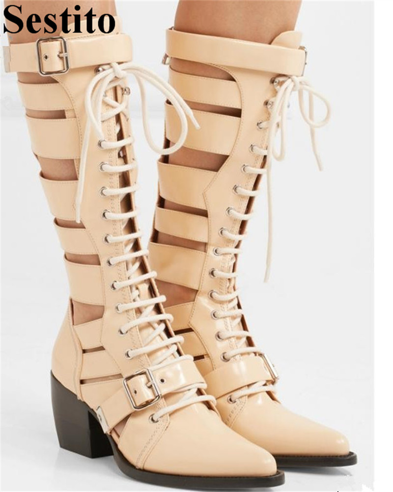 Sexy Snake Pattern Hollow Cross-tied Woman Boots Pointed Toe Mid-Calf Boots Women Buckle Strap Autumn New Patchwork Women Shoes 2017 new fashion brown cross tied spring autumn short booties mid calf pointed toe graceful pumps women shoes cut out boots