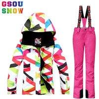 Gsou Snow outdoor women's Winter Waterproof windproof Ski Suit Ski Jacket+ski Pants set Snowboard Female Skiing Snow Clothes