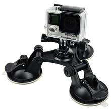 Действие Камера Аксессуары лобовое стекло автомобиля тройной вакуумной присоской жира Gecko креплением для Xiaomi Yi Gopro Hero 5 4 3 SJ4000 SJ5000